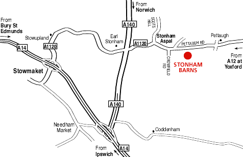 Map For Directions To Stonham Barns